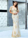 Gorgeous Gold Printed V Neck Bodycon Prom Dresses-Rose Gold 11