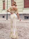 Gorgeous Gold Printed V Neck Bodycon Prom Dresses-Rose Gold 4