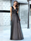 Unique Doublue V Neck Tulle Evening Gowns With Lace-Black 4