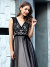 Unique Doublue V Neck Tulle Evening Gowns With Lace-Black 5