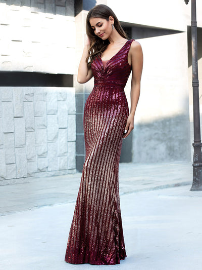 Shiny V Neck Sequin Prom Dresses for Women