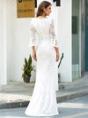 Women'S V-Neck Floral Lace Side Split Wedding Dress With Long Sleeves-Cream 2