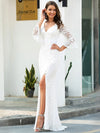 Women'S V-Neck Floral Lace Side Split Wedding Dress With Long Sleeves-Cream 3