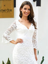 Women'S V-Neck Floral Lace Side Split Wedding Dress With Long Sleeves-Cream 5