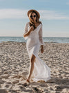 Women'S V-Neck Floral Lace Side Split Wedding Dress With Long Sleeves-Cream 6