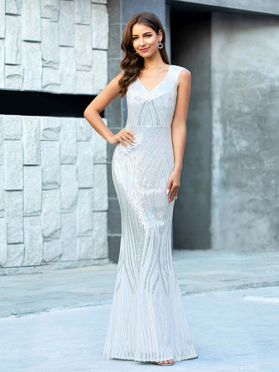 Shiny Silver V Neck Fishtail Sequin Evening Dress