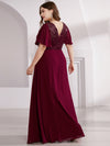 Empire Waist Floor Length Plus Size Chiffon Evening Dress With Sequin-Burgundy 2