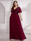 Empire Waist Floor Length Plus Size Chiffon Evening Dress With Sequin-Burgundy 3