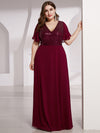 Empire Waist Floor Length Plus Size Chiffon Evening Dress With Sequin-Burgundy 4