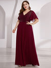 Empire Waist Floor Length Plus Size Chiffon Evening Dress With Sequin-Burgundy 1