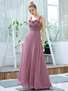 Simple A-Line Long Ruched Chiffon Bridesmaid Dresses-Purple Orchid 3