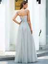 V-Neck Spaghetti Straps Sequin & Tulle Bridesmaid Dress-Grey 2