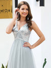 V-Neck Spaghetti Straps Sequin & Tulle Bridesmaid Dress-Grey 5