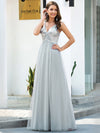 V-Neck Spaghetti Straps Sequin & Tulle Bridesmaid Dress-Grey 1