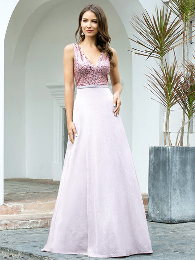 Women's Double V Neck A-Line Sequin Patchwork Evening Dress