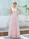 Floral Embroidered V Neck A-Line Tulle Bridesmaid Dresses With Lace-Pink 1