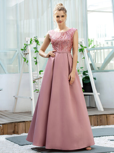 Fashion Round Neckline A-Line Maxi Prom Dresses with Sequin