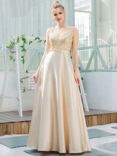 Women's A-Line Sequins Beaded Satin Prom Dress