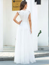 Romantic White V Neck A-Line Tulle Wedding Dresses With Floral Lace-Cream 2