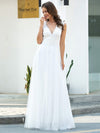 Romantic White V Neck A-Line Tulle Wedding Dresses With Floral Lace-Cream 3