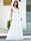 Romantic White V Neck A-Line Tulle Wedding Dresses With Floral Lace-Cream 4