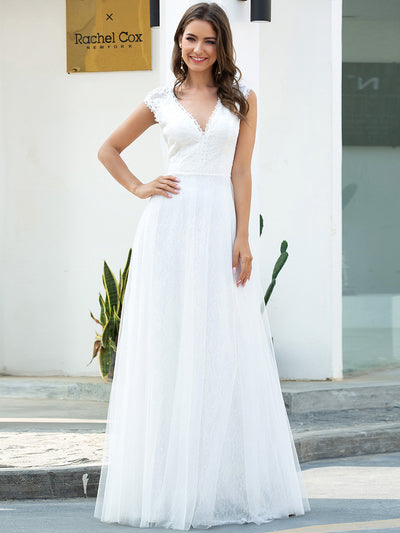 Romantic White V Neck A-Line Tulle Wedding Dresses with Floral Lace