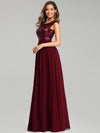 Elegant Long Sequin And Chiffon Bridesmaid Dresses With Belt For Wedding-Burgundy 3
