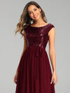 Elegant Long Sequin And Chiffon Bridesmaid Dresses With Belt For Wedding-Burgundy 5