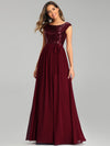 Elegant Long Sequin And Chiffon Bridesmaid Dresses With Belt For Wedding-Burgundy 1