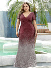 Sexy V Neck Mermaid Sequin Evening Dress With Short Sleeve-Burgundy 8