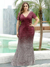 Sexy V Neck Mermaid Sequin Evening Dress With Short Sleeve-Burgundy 9