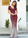 Sexy V Neck Mermaid Sequin Evening Dress With Short Sleeve-Burgundy 3