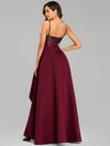 Sexy Backless Sparkly Prom Dresses For Women With Irregular Hem-Burgundy 2