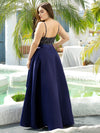 Sexy Backless Sparkly Prom Dresses For Women With Irregular Hem-Navy Blue 7