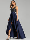 Sexy Backless Sparkly Prom Dresses For Women With Irregular Hem-Navy Blue 4
