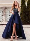Sexy Backless Sparkly Prom Dresses For Women With Irregular Hem-Navy Blue 1