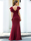 Elegant V-Neck Flutter Sleeves Bodycon Mermaid Evening Dress-Burgundy 2