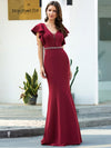 Elegant V-Neck Flutter Sleeves Bodycon Mermaid Evening Dress-Burgundy 3