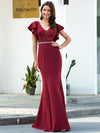 Elegant V-Neck Flutter Sleeves Bodycon Mermaid Evening Dress-Burgundy 1