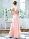 Women'S V-Neck Backless Cap Sleeve Bridesmaid Dress With Waistband-Pink 2