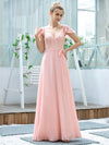 Women'S V-Neck Backless Cap Sleeve Bridesmaid Dress With Waistband-Pink 3
