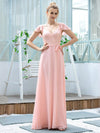 Women'S V-Neck Backless Cap Sleeve Bridesmaid Dress With Waistband-Pink 4