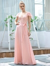 Women'S V-Neck Backless Cap Sleeve Bridesmaid Dress With Waistband-Pink 1