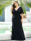 Elegant Ruffle Sleeves Mermaid Lace Evening Dresses With Beads-Navy Blue 9