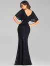 Elegant Ruffle Sleeves Mermaid Lace Evening Dresses With Beads-Navy Blue 2
