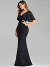 Elegant Ruffle Sleeves Mermaid Lace Evening Dresses With Beads-Navy Blue 3