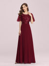 Romantic Round Neck Ruffle Sleeves Chiffon & Sequin Prom Dress-Burgundy 4