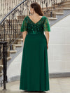 Elegant Plus Size A-Line Chiffon Evening Dress With Sequin-Dark Green 2