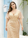 Fashion Plus Size V Neck Mermaid Sequin & Tulle Dress-Gold 5
