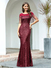 Women'S Sexy Fishtail Sequin Evening Dress With Tassels-Burgundy 3